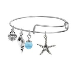 Wholesale Hope Summers - 10pcs lot Summer Beach bracelet mixture hippocampus Shell anchor tree of life charm bracelet bangles Faith love hope jewelry