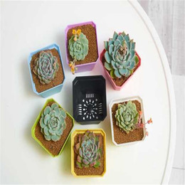 gardening potting table Coupons - Bonsai Planters Plastic Table Mini Succulents Plant Pots and Plate Gardening Vase Square Flower Pot 7 Color Decoration Home Office LDH63