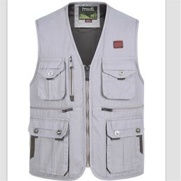 Wholesale Photography Men - Wholesale- Photographers Working Vest Men's Casual Cotton Multi-Pocket Vest Male Photography Work Vest Plus Size Free Shipping