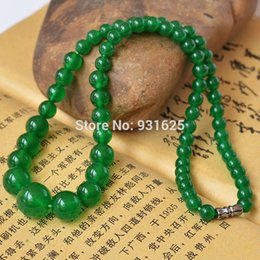 Wholesale Natural Jade Top - Pretty 6-14mm Top Quality Natural Green Jade Beads Necklace Fashion Woman Man's Jewelry 18 inch