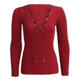 Wholesale Computers Sold Wholesale - Wholesale-Sexy Autumn Winter Knitted Tops Women Pullover Lace Up Cross OL Sweatser Slim Long Sleeve Tops Hot Selling