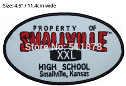 """Wholesale Ironing Label - 4.5"""" Smallville Superman High School Property Label TV Movie Series Halloween Costume Cosplay Embroidered iron on patch TRANSFER"""