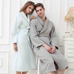 Waffle cotton bathrobe women plus size XL sexy long soft nightgown ladies  summer nightdress for girls home hotel spring autumn c5c5b2937