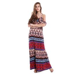 Wholesale Slim Beach Dress Bohemia - 2017 New Fashion Beach Holiday Dress Printted Color Deep-V Neck Spaghetti Starp Long Slim Elegant Dresses Bohemia Styles