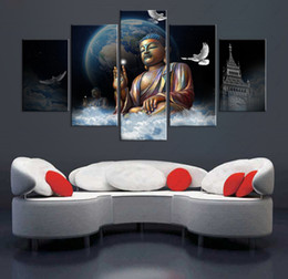 Wholesale Big Art Wall Decor - 5 Pcs set Unframed Big Buddha Painting Modern Art Cuadros Home Decor Wall Art on Canvas Print Pictures For Living Room Personalized gift