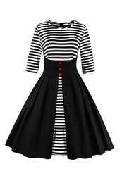 Wholesale Black Rockabilly Plus Size Dress - vestidos de playa vintage autumn Striped Hepburn Casual Dress half Sleeve ukraine Rockabilly 4XL plus size women Black dresses FS0845