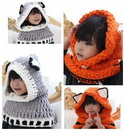 Wholesale Toddler Girls Scarves - Baby Girl Toddler Fox Hooded Scarf Hat Wool Knitted Crochet Cap Wool Collar Cap Scarf Fox Ear Hats KKA3452