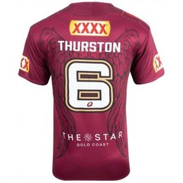 Wholesale Maroon T Shirts - Commemorative Edition THURSTON 6 jersey Johnathan Thurston QUEENSLAND 2005-2017 Australia Queensland QLD Maroons Rugby jerseys t Shirt