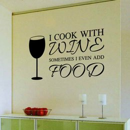 Wholesale Wall Quotes For Kitchen - 9346 Home Decor DIY Wine A Bit Letters Quote PVC Wall Art Sticker Dinning Kitchen Removable Food Decals