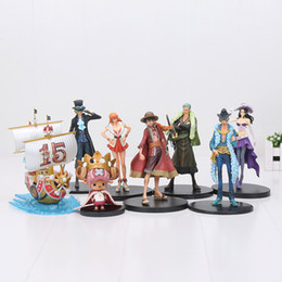 Wholesale Robin Action Figures - DXF One Piece Sabo Luffy Sanji Nami Nico Robin Chopper Pirate Ship PVC Action Figure Collectible Model Toy Chilidren gift 11-18cm