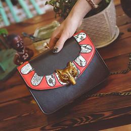 Wholesale Fox Messenger Bags - wholesale brand bag fashion personality fox woman decorative chain bag trend hit color woman hand bag cute personality Shoulder Messenger Ba