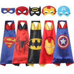 Wholesale Wholesale Spiderman Masks - Double side Halloween L70*70cm kids Superhero Capes and masks - Spiderman Flash Supergirl Batgirl Robin for kids capes with mask Cosplay B5