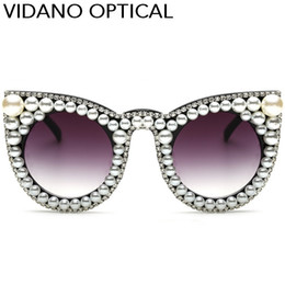 Wholesale Pearl Cat Eye Glasses - Vidano Optical Women Limited Edition Triangle Pearl Cat Eye Sunglasses For Women Luxury Fashion Designer Diamond Round Sun Glasses UV400