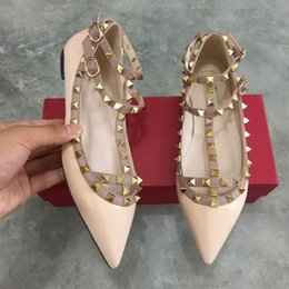 Wholesale Hot Pink Dress Sandals - 2017 New hot Genuine leather Strap Studded Women Flats Shoes Pointed Toe Ankle Wrap Rivets Sandals patent Leather flats Shoes Ladies