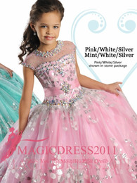 Wholesale Girl Sequin Short Pageant Dresses - 2016 Ritzee Girl's Pageant Dresses Beaded Ruffles Sheer Neck Ball Gown Floor Length Pink Blue Flower Girl Dresses 2017 Sequins Dress