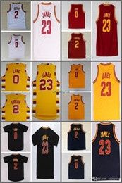 amour rouge Promotion Qualité supérieure ! Chemise rétro 0 Kevin Love 2 Kyrie Irving Jersey 23 LeBron James Bleu Blanc Red Yellow Throwback Basketball Jersey