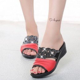 Wholesale Comfort Shoes Heels - Wholesale-Summer 2016 new leather sandals and slippers women platform sandals shoes wedges platform shoes with comfort in Korea