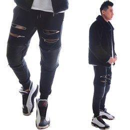 Wholesale Dancer Hip Hop - Wholesale- 2 Styles New Fashion Tight-Fitting Slim Chains Black Men Pants Hip-Hop Skinny Male Trousers Dj Singer Ds Dancer Costumes
