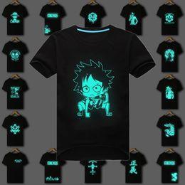 Wholesale Fluorescent T Shirts - Wholesale- 100%Cotton Mens Summer Anime One Piece T shirt Luffy Zoro Fluorescent T Shirt Male Fitness Casual Short Tee Shirt Men Tops S-3