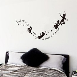 Wholesale Wall Lower Decals - Wholesale- Lowest Price Halloween for Creative Flying Witches Home Wall Decal Second Star To The Right Vinyl Wall Stickers