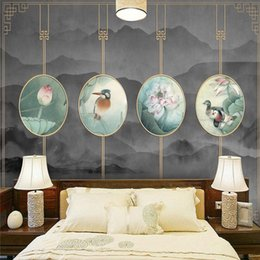 Wholesale Tea Sound - 3d TV sofa background wallpaper hotel classical ink landscape water flower modern Chinese wallpaper wall murals living room tea room