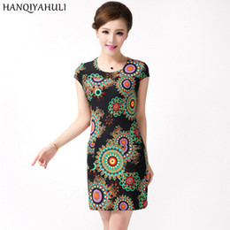 Wholesale Sunmmer Dress - Wholesale- HANQIYAHULI 2017 Women dress sunmmer Casual Plus Size Slim Tunic Milk Silk print Floral dresses sexy bodycon sundress vestidos