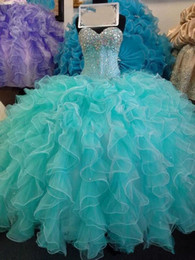 Wholesale Dress Organza Princess - Glittering Sequins Crystal Blue Quinceanera Dresses 2017 New Real Image Sweetheart Lace up Sweet 16 Years Princess Prom Dress Custom Mad