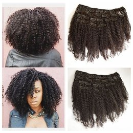 Wholesale Natural Hair Clip Ins - Clip In Human Hair Extensions African American 4B 4C Afro Kinky Curly Brazilian Virgin Natural Clip Ins G-EASY