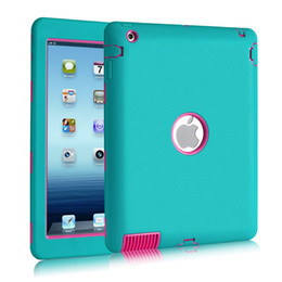 Wholesale Ipad Silicone Covers - Baby Safe Armor Shockproof Heavy Duty Cases Silicone PC Hard Cover Rugged Impact 3 Layer Hybrid Case for iPad 1 2 3 4 5 5 Air Mini Pro 9.7