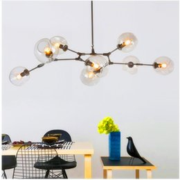 Wholesale Amber Glass Knobs - Branching Bubble Ceiling Lights Retro Loft vintage Clear Smoke Amber Glass Hanging Suspension luminaire ceiling Lamp fixtures