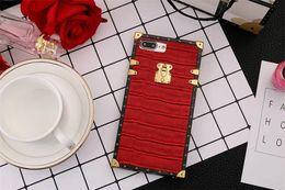 Wholesale Iphone Crocodile Cover - Fashion Designer Grid Leather Back Case For iPhone X 8 7 6 6s Plus Luxury Crocodile pattern Leather Back Cover Capa TPU cases 7plus