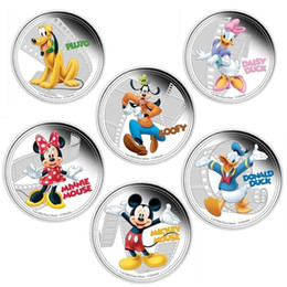 Wholesale Dog Coin Silver - 6 pcs ( 1 set ) full set mickey friends mouse dog duck Hollywood cartoon animal silver plated Elizabeth souvenir coins gift