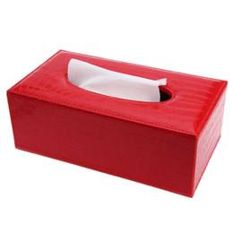 Wholesale Leather Napkin Holder - Wholesale- Stylish Elegant Royal PU Leather Crocodile Pattern Household Tissue Box Holder Paper Car Covers Towels Household Tissue Box