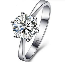 Comercio al por mayor freeshipping 1 pieza / lote para mujer anillo de diamante seis anillos de simulación de garra venta caliente de alta calidad de joyería de plata de regalo para mujer desde fabricantes