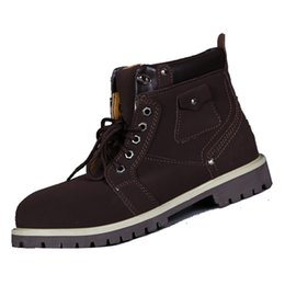 Wholesale Classic Leather Boots For Men - Classic Outdoor Mens Martin Boots Plain Full Grain Leather Ventilation Waterproof Casual Shoes for Spring and Fall 321130