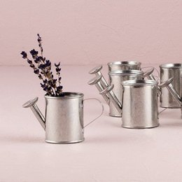 Wholesale Watering Can Wedding Favor - Wholesale-Free shipping 12 pcs lot wedding candy packing mini metal Watering can favors in silver color