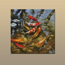 Wholesale Modern Art Fish Paintings - New Arrivals Modern Abstract Home art wall decor Free shipping China wind Feng Shui Fish Koi painting HD Picture Printed on canvas DW39