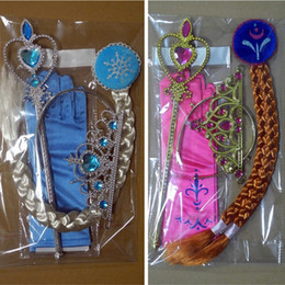 Wholesale Kids Fancy Gloves - Princess Girl Fancy Christmas Gloves Hallowmas Costumes snow queen Party gloves with Crown birthday gift Cosplay gloves wig for kids