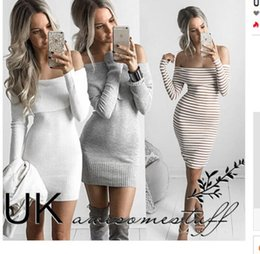 Wholesale White Black Gray Striped Jumper Knitwear Autumn Winter Women Dress Off Shoulder Reverse Slash Neck Long Sleeve Sweater Dress