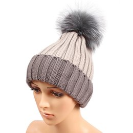 Wholesale Classic Headgear - Winter Fashion Beanie Classic Tight Knitted Grey Fox Fur Pom Poms Hat Women Cap Winter Beanie Headgear Headdress Head Warmer Top Quality