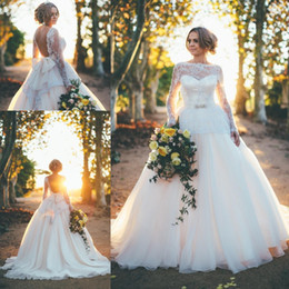 Wholesale Vintage Bow Saw - Elegant 2017 Wedding Dresses A Line See-Through Long Sleeves Robe De Marriage Sexy Open Back With Bow Sweep Train Bridal
