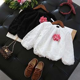 Wholesale Tshirt Lace Girl - Girls T-Shirt 2017 new floral Lace Long Sleeve T Shirt Fashion Girls Clothes Children Tee Shirt Girls Shirt Kids Clothing Kids Tshirt A1208