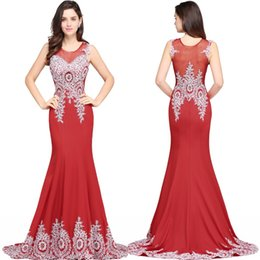 Wholesale Cocktail Bridesmaid Silk Dress - 2017 New Arrival Red Long Evening Dresses Beaded Appliques Sexy Prom Dresses Long Mermaid Evening Party Dress Gowns See through CPS624