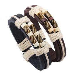 Wholesale Men S Link Bracelets - Men\'s Brown Black Leather Bracelet Wood Beads Antique Bronze Springs Charm Bracelet Cotton Ropes Bracelet Fashion jewelry For Men and Women