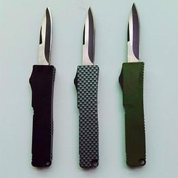 Wholesale Mini Key Knife - mini Mict Key buckle knife aluminum green black carton fiber double action gift knife xmas knife 1PCS