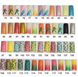 Wholesale Colored Tips Acrylic Nails - Wholesale-100pcs Glitter Long Fake Nails French False Nails Tips Acrylic Half Tips Shining Art Design colored glitter73-103