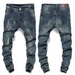 Wholesale Mens Harem Tapered - Wholesale-Ankle Jeans Men Famous Brand Mens Ripped Jeans Slim Fit Vintage Retro Distressed Harem Jeans Homme Tapered Denim Pants Beam P5