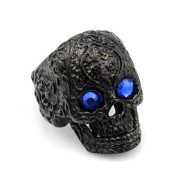 Wholesale Retro Bohemia Style - retro black flower tattoo blue eyes stainless steel skull head ring for man jewelry men new arrival 2016 bohemia style AR406