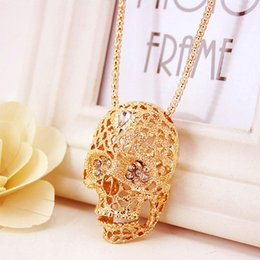 Wholesale Gem Skulls - Skull Head Luxury Party Gifts For Grils 2017 New Arrival Women's Enamel Gem Pendant Neck Chains Necklaces Wholesale
