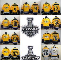 Wholesale Ryan White - 2017 Hockey Jersey Nashville Predators 4 Ryan Ellis 9 Filip Forsberg 12 Mike Fisher James Neal White Yellow
